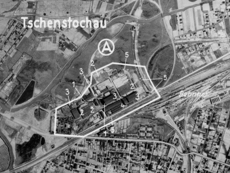 Zdjęcie lotnicze Częstochowy z 1944r.
